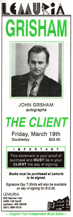 John Grisham Booksigning Ad
