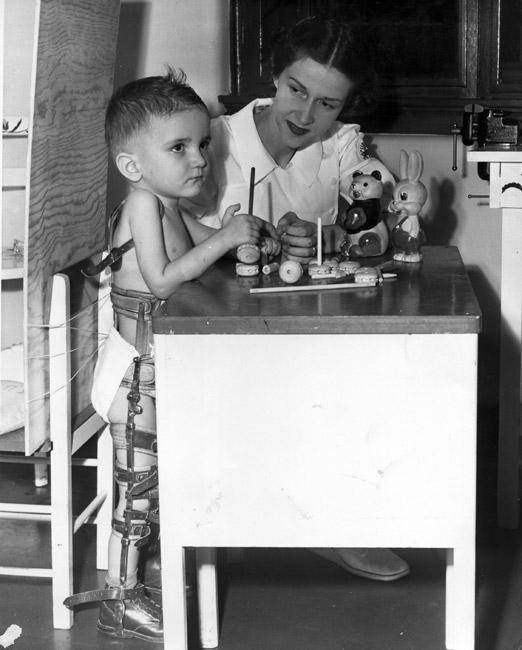 Betty Sorensen with Polio Patient