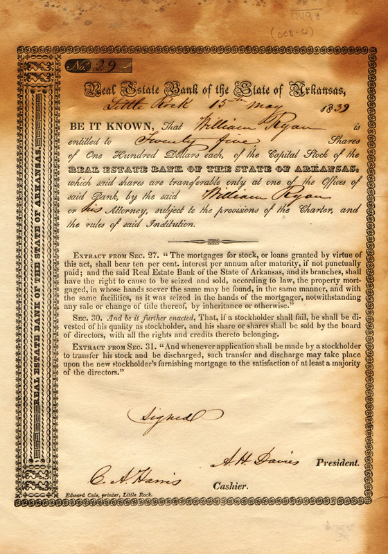 Arkansas Real Estate Bank Stock Certificate