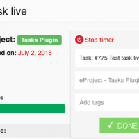 Toggl timer on task page