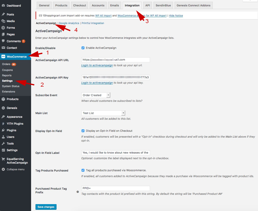 WooCommerce ActiveCampaign settings integration page