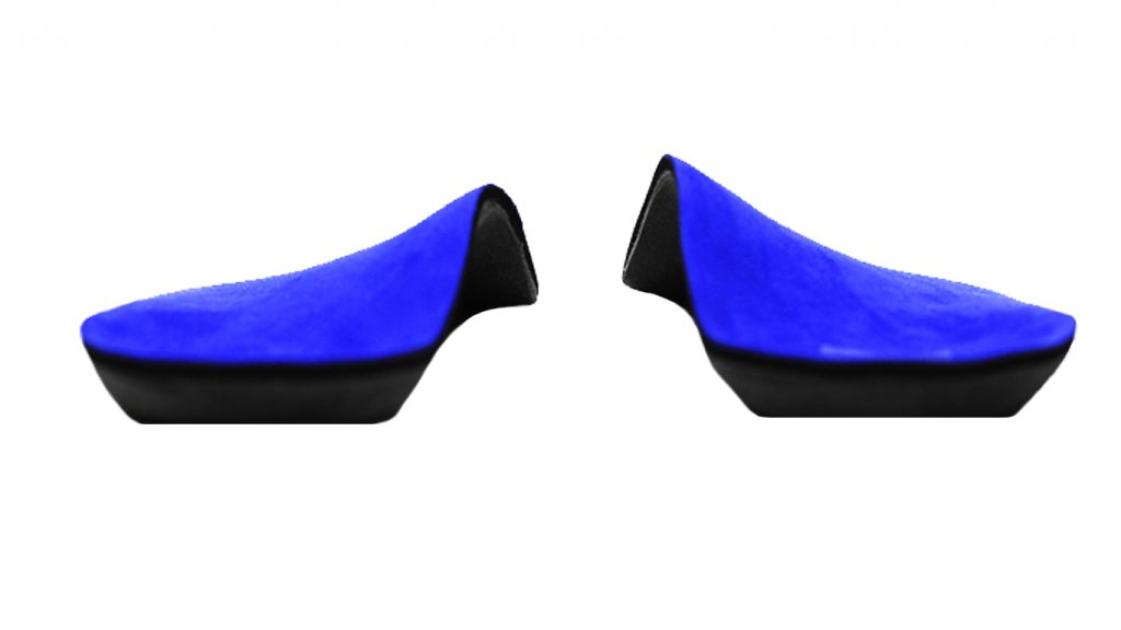 blue ultrasuede top cover over a sulcus length custom foot orthotic