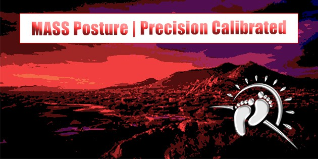 MASS Posture | Precision Calibration text against mountain background