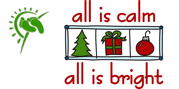 all is calm all is bright text with 3 small pictures: green tree, red/green gift with green bow, red glass ornament