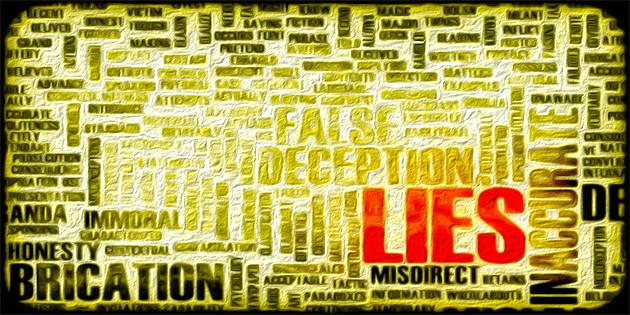 word art surrounding the main word: LIES