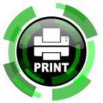 printer icon - green round button