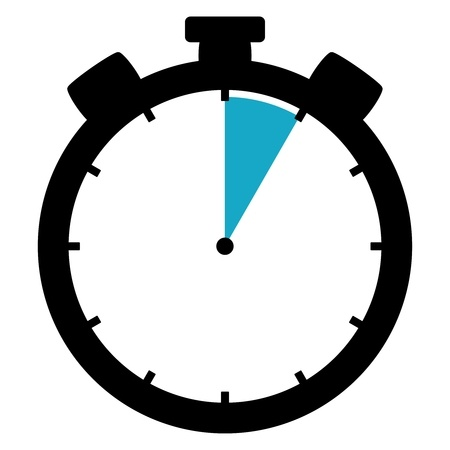 Clock with 1 hour of time highlighted in blue