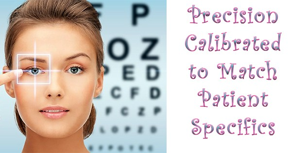 "Snellen Eye Chart adjacent to ""precision calibrated to match patient specifics"""