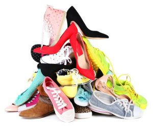 pile of shoes, sneakers, heels...