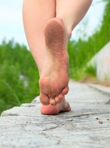 walking barefoot on concrete