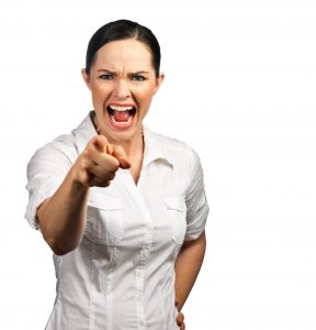 woman pointing with urgency