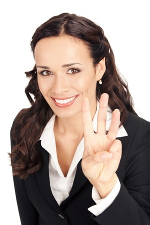 business woman holding up three fingers