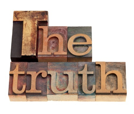 The truth spelled out with wood blocks