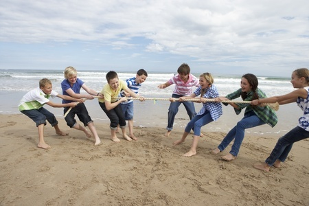 tug of war between people on beach