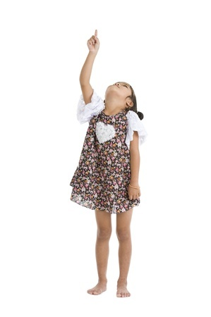 girl pointing up with one finger picture