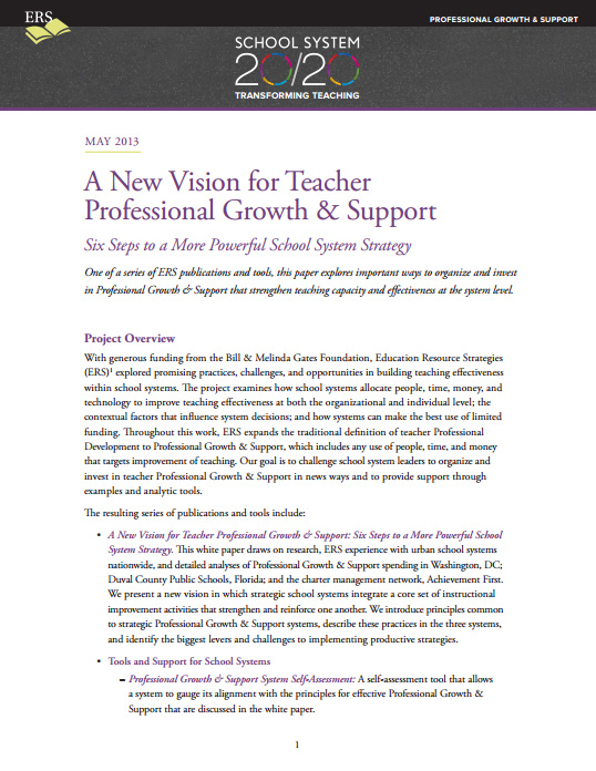 A New Vision for Teacher Professional Growth & Support