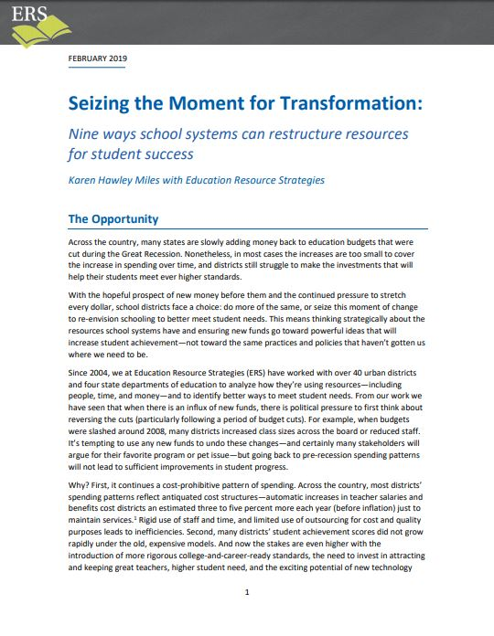 Seizing the Moment for Transformation—Whether Facing School Budget Cuts or Adding Back Revenue