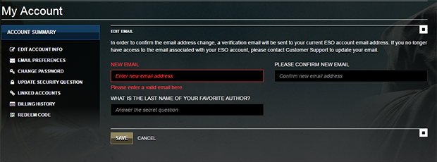 email address format is invalid eso Support | The Elder Scrolls Online