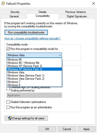 run steam game in compatibility mode windows 10