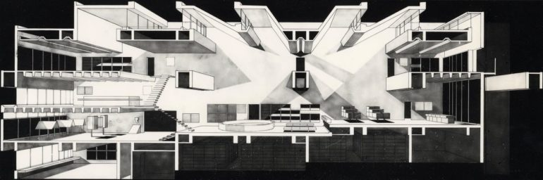 11++, Section perspective1, Oita Prefectural Library (1966)