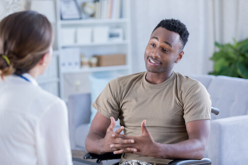 Man speaking to doctor - oral cancer service image