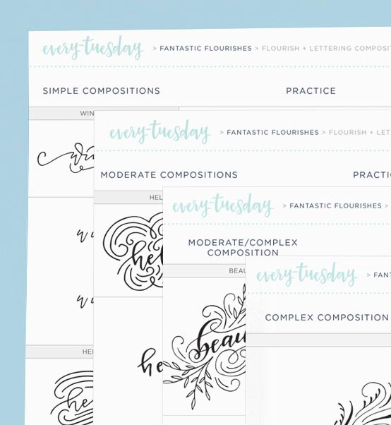 Flourish and Lettering Composition Practice Sheets