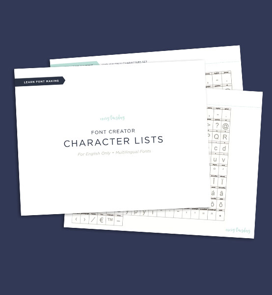 Font Creator Character Lists