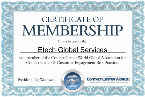 Certified Member of the Contact Center World