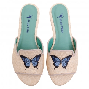 SHOWER FLAT BUTTERFLY BORR PALHA NATURAL