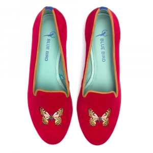 LOAFER RED BUTTERFLY VELUDO