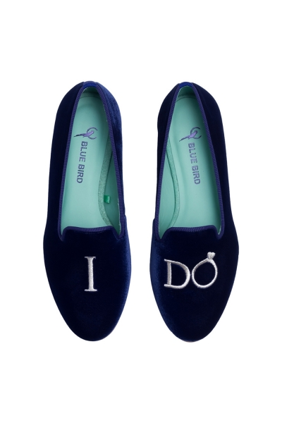 LOAFER YES, I DO VELUDO AZUL MARINHO