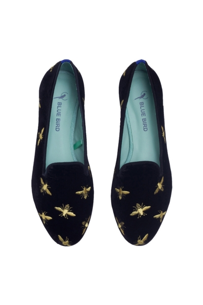 LOAFER BEES EMBROIDERY VELUDO PRETO
