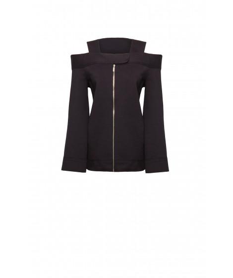 casaco malha dupla com zíper