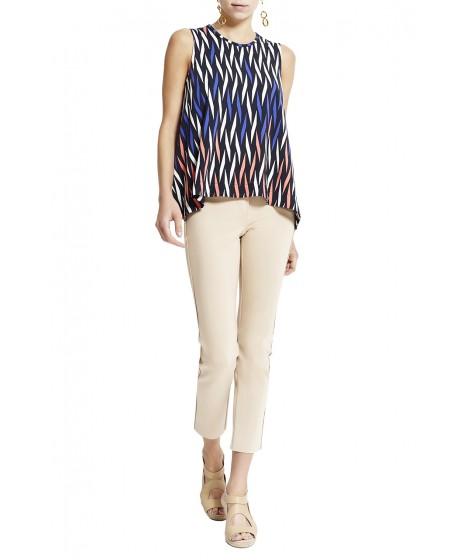 blusa jersey treliça colorido barra assimétrica