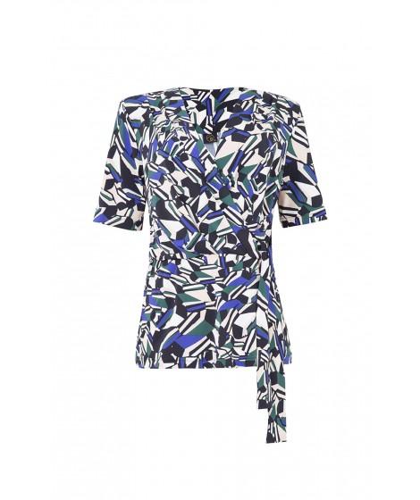 blusa jersey diamantes  transpassada c/ faixa
