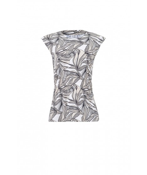 blusa jersey grafismo recorte franzido