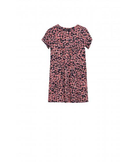 vestido jersey cerejas recorte franzido