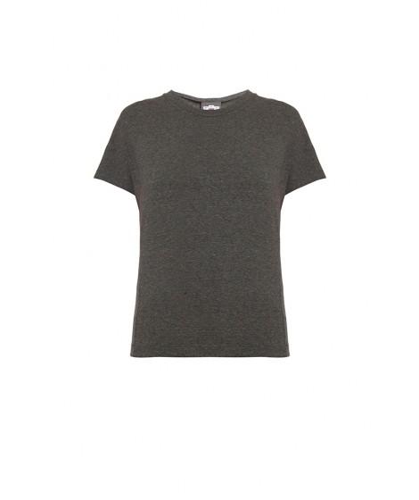 blusa malha mescla escuro jabot