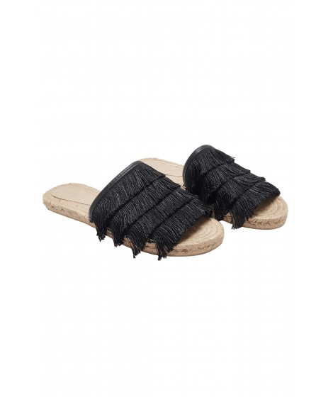 sandália rasteira franjas