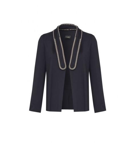 casaco malha dupla detalhe cordão