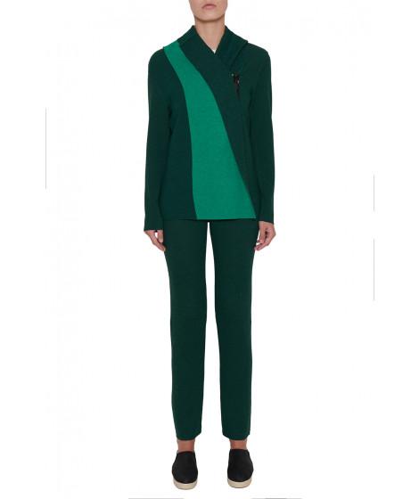 casaco malha dupla face com ziper