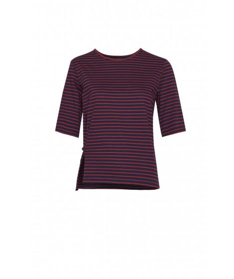blusa malha listrada colors detalhe pregueado