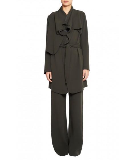 casaco bouclê alongado com faixa