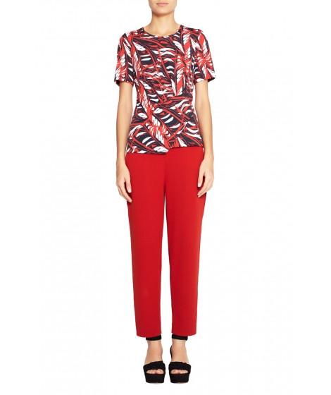blusa jersey folhagem abstrato recorte drapeada
