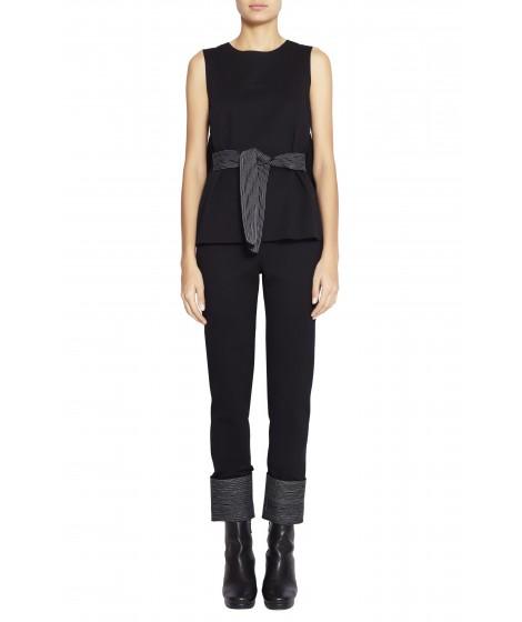 calça malha duplo cintura alta barra pespontada