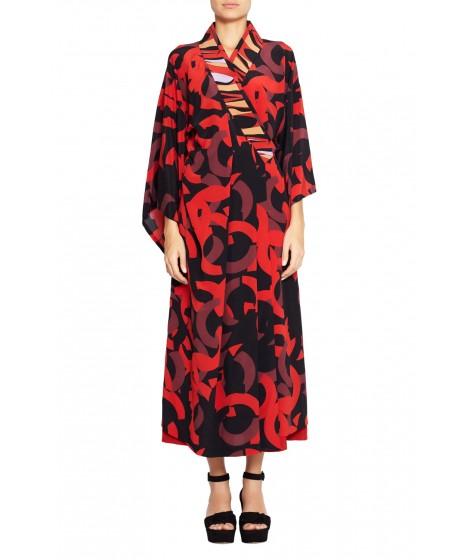 vestido seda círculos kimono bicolor