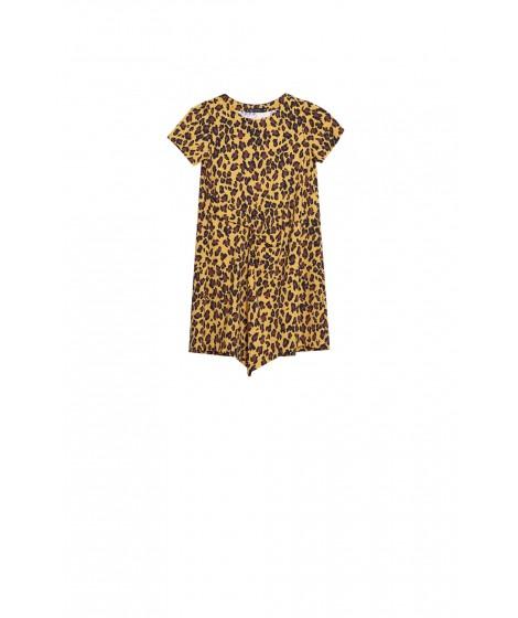 vestido jersey animal print recorte pregueado