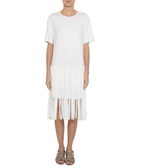 vestido malha dupla leve com franjas