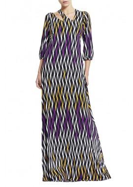 vestido jersey treliça colorida longo decote assimétrico