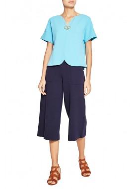blusa bouclê cropped decote v